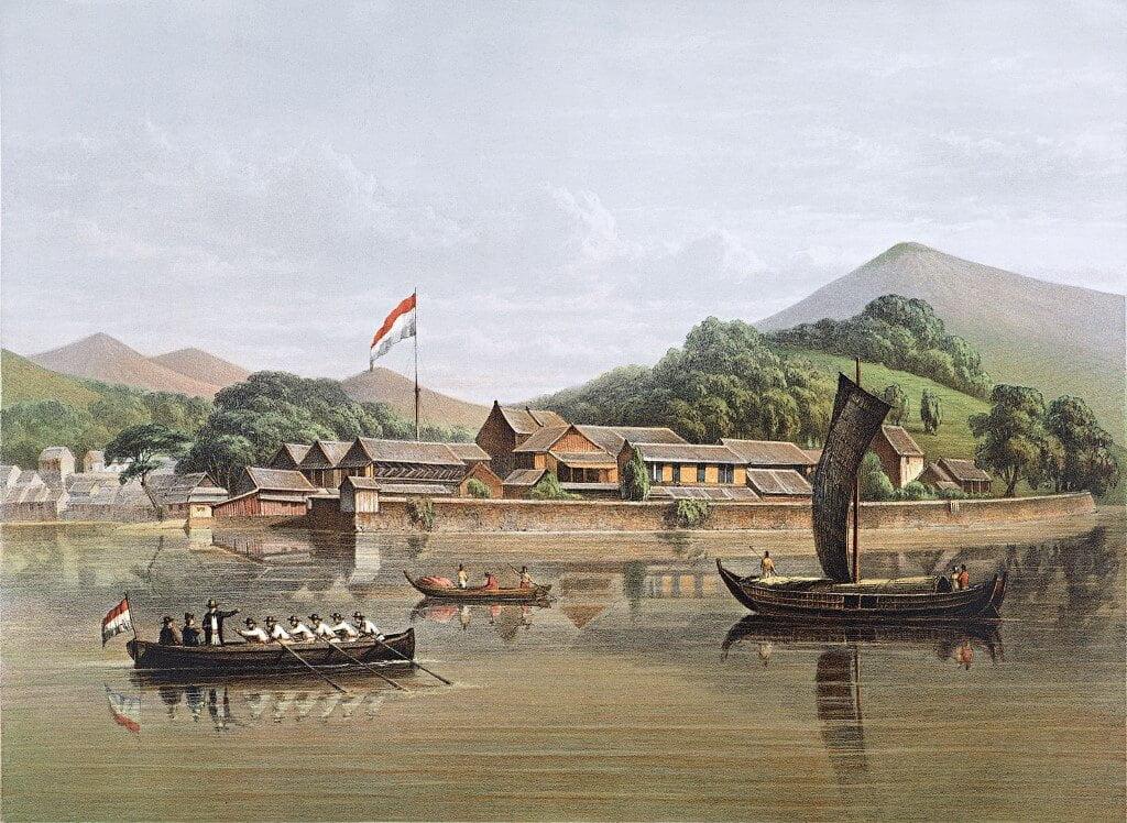 Painting of Dejima in Nagasaki