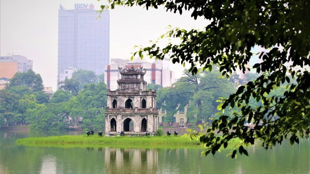 Hoan Kiem Lake in the centre of the city
