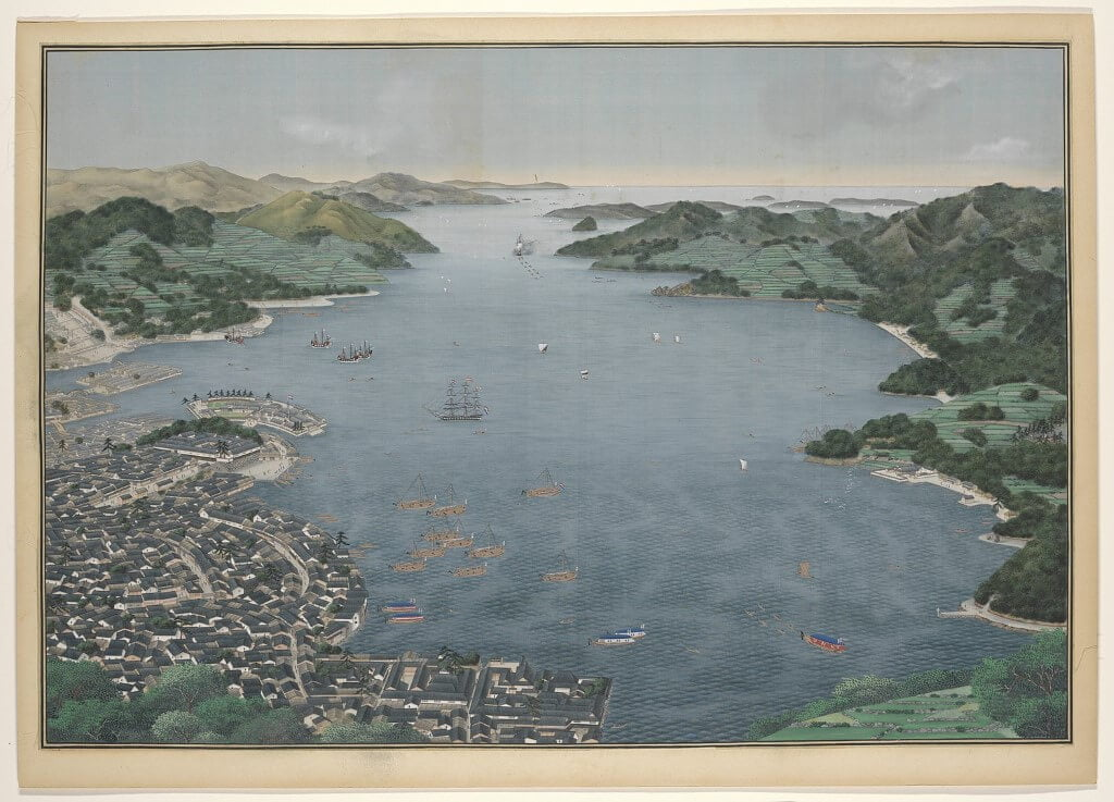 Painting of the harbour in Nagasaki in Japan