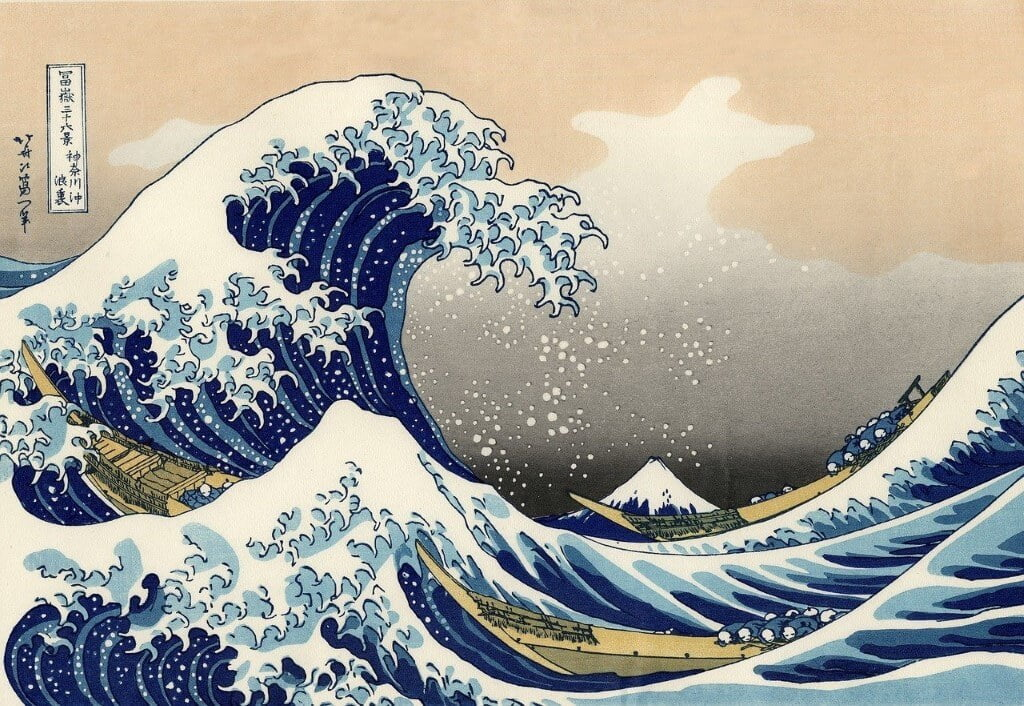 Woodcut of Hokusai in Obuse