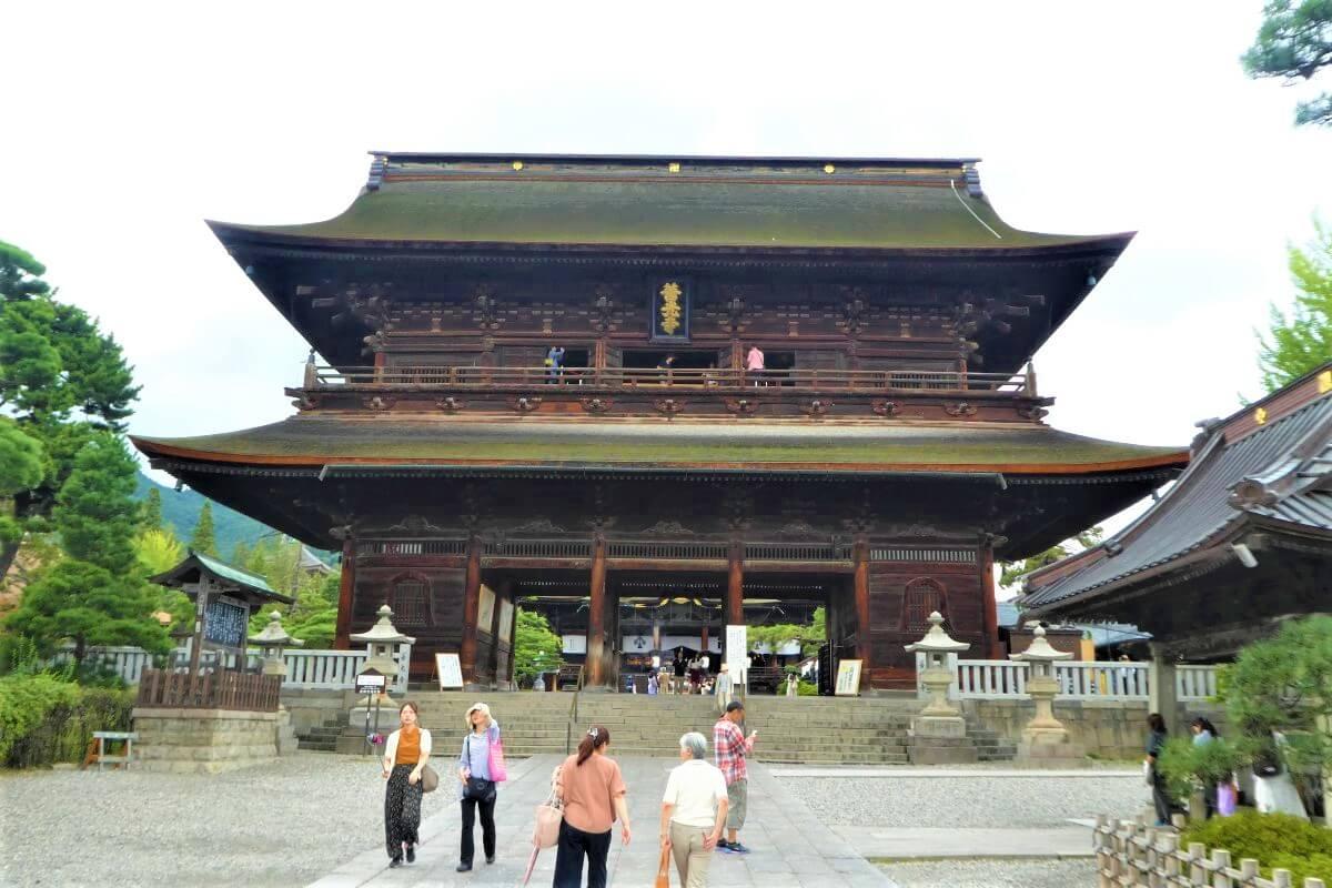 The Sanmon Gate in Nagano, Japan