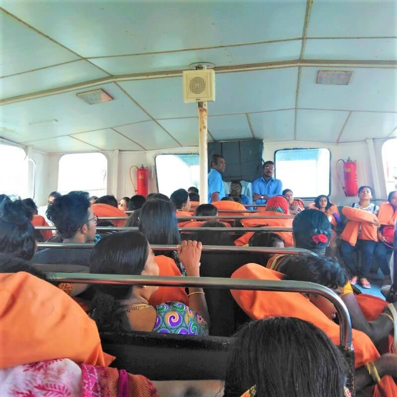 Inside the boat to Vivekananda Rock Memorial in Kanyakumari
