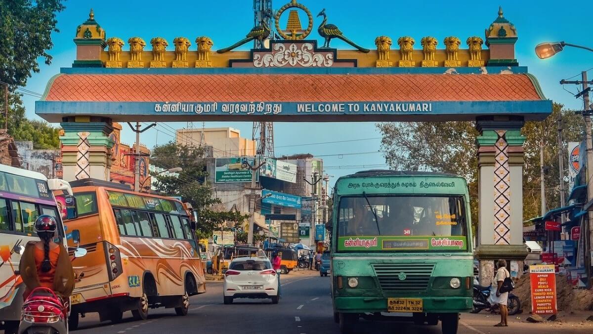 The city center of Kanyakumari in India