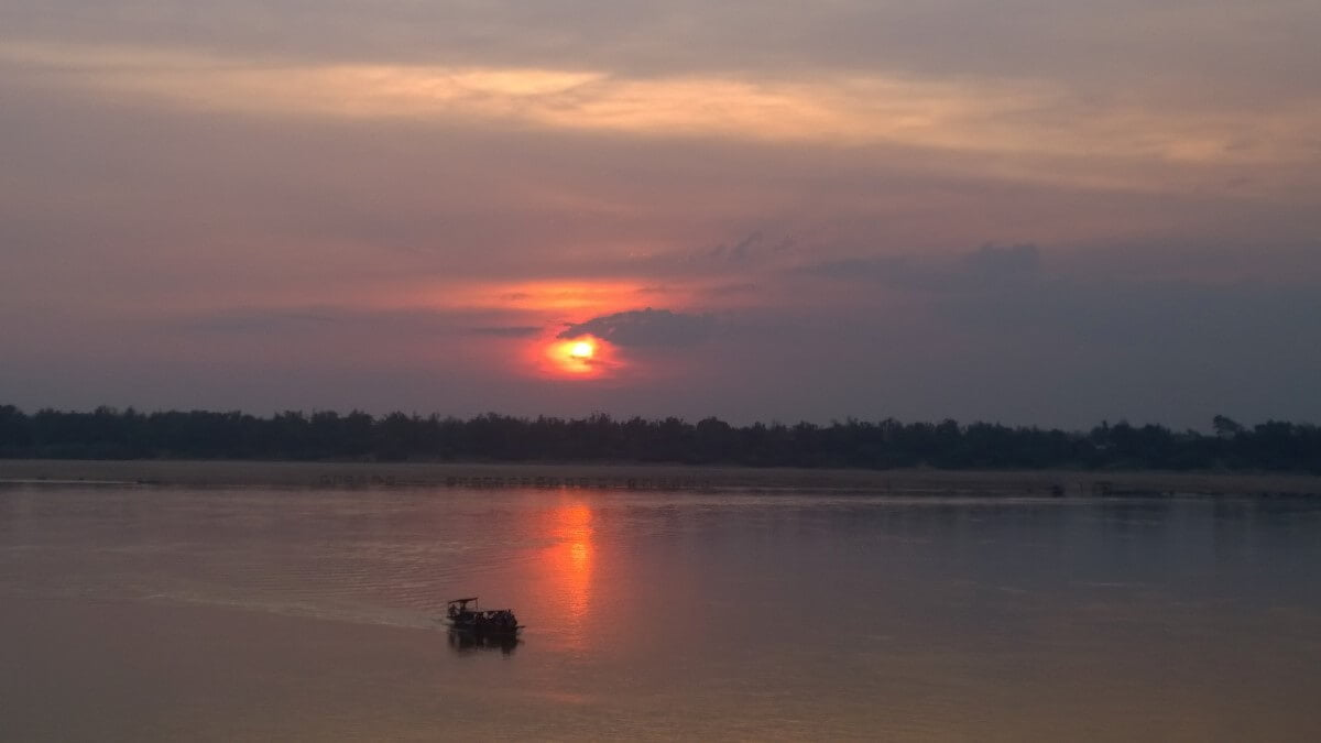 Sunset near Kratie and the Mekong river