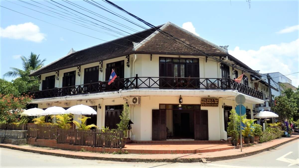 French colonial houses in the center of town, Laos