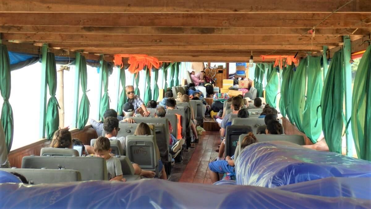 Interior of the boat from Luang Prabang, Laos.