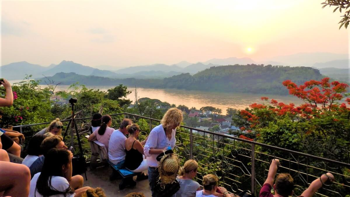 Sunset at Phu Si Hill in Laos
