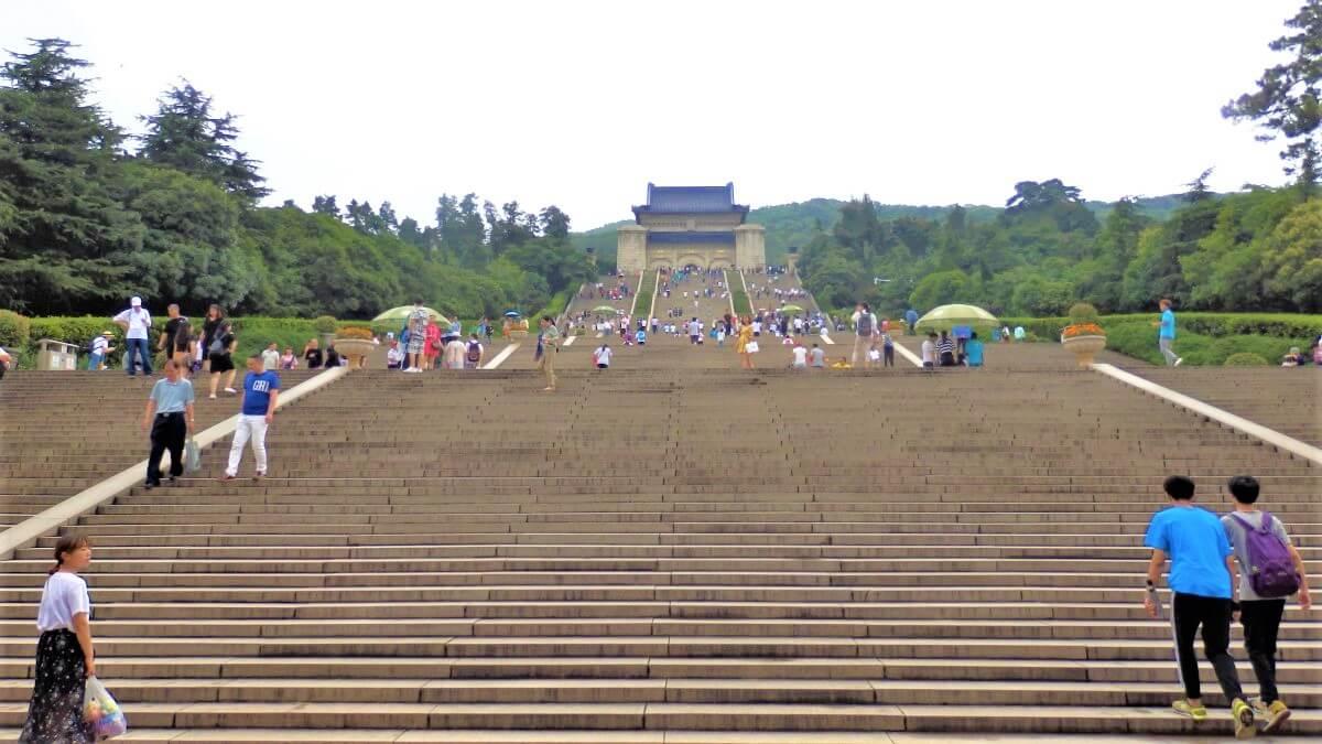 400 steps to the Sun Yat-Sen Mausoleum on the Purple Mountain