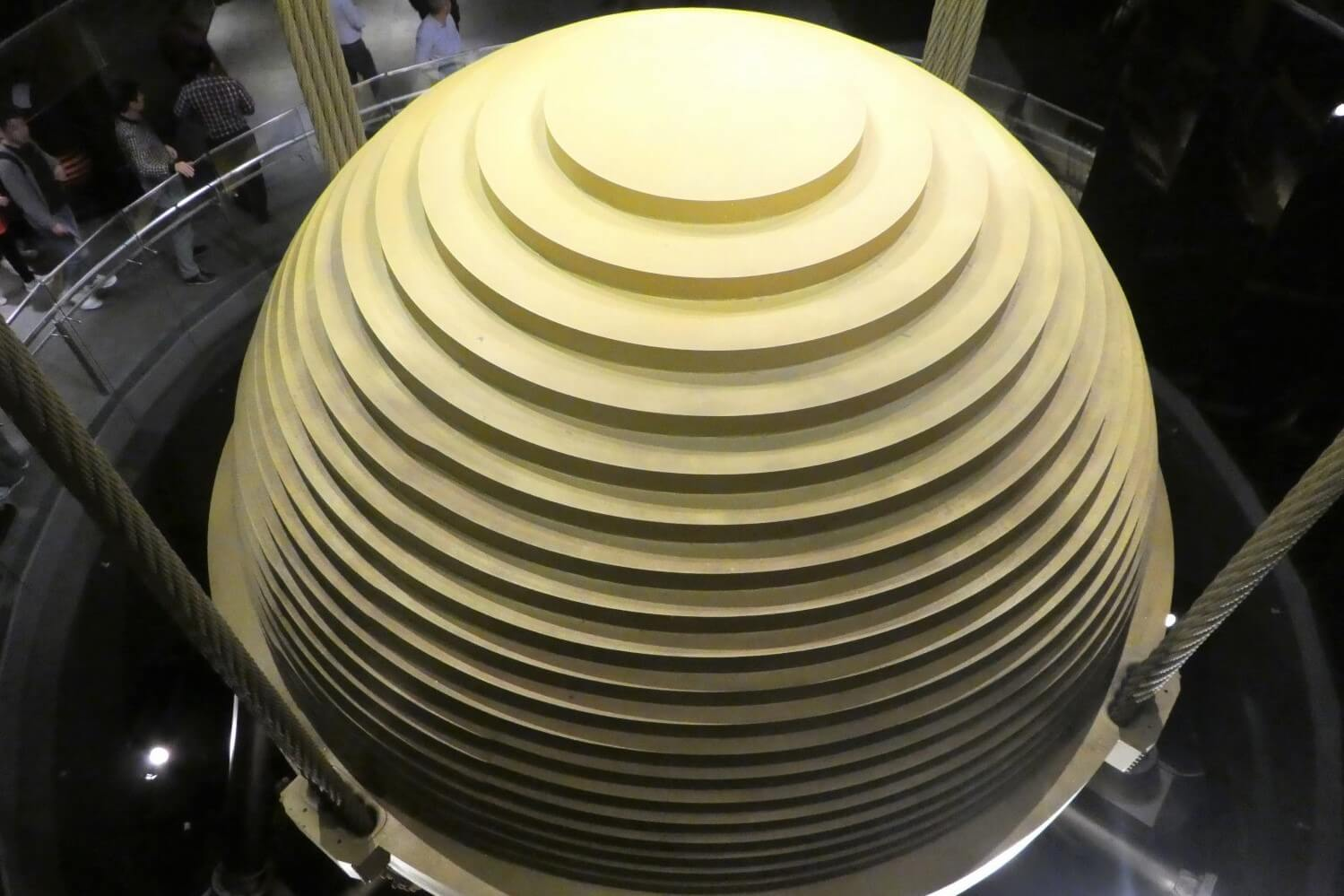The big Tuned Mass Damper in the bamboo tower