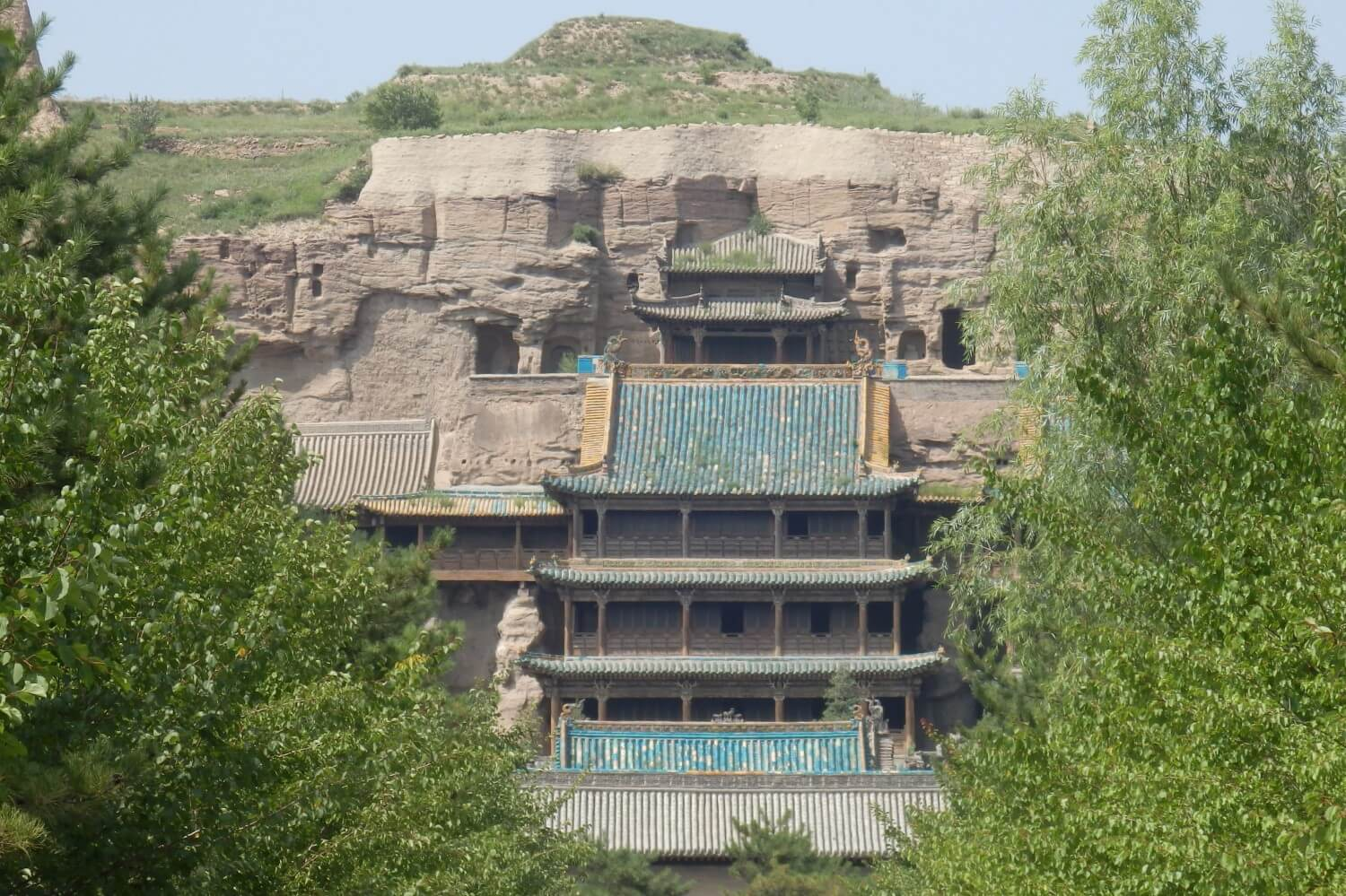 The temple entrance of the Yungang caves in China