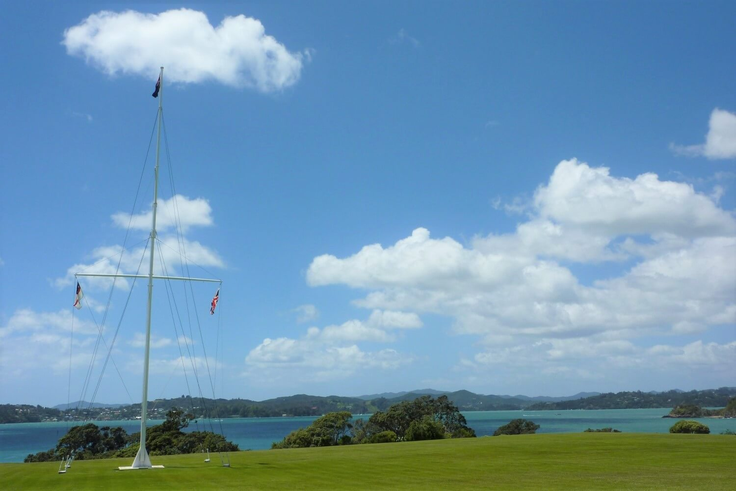 The flags of the Maori, New Zealand and Great Britain