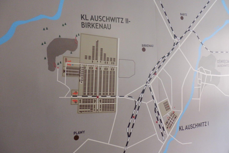 Map of Concentrations Camp Auschwitz I and Auschwitz II Birkenau